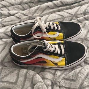 vans flaming black shoes